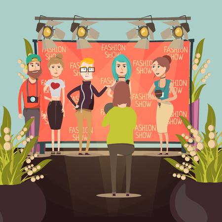 キャットウォークファッション集合フラット背景面接と広告バナーのベクトル図の前にモデルの文字