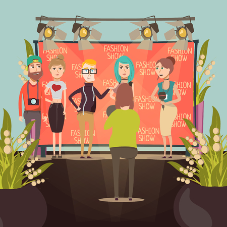 Catwalk fashion set flat background composition with interviewers and model characters in front of advertising banner vector illustration