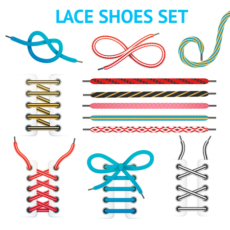 Isolated colorful shoelace icon set with different styles and colors for different types of shoes vector illustration Illustration