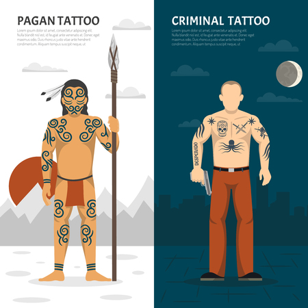 Two isolated tattoo studio vertical banner set with pagan tattoo and criminal tattoo descriptions vector illustration Illustration