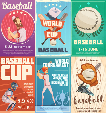 Set of baseball posters in retro style with advertising of date of tournaments and world cup flat vector illustration