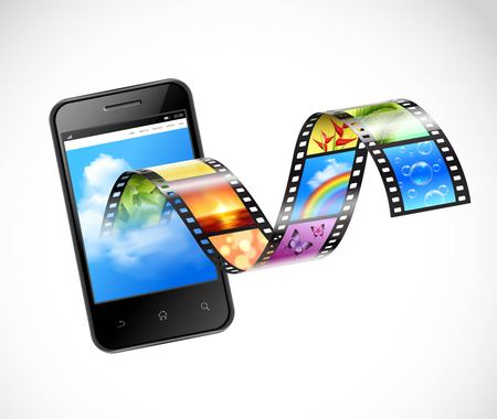 strip design: Smartphone with streaming video 3d design with film strip flowing from screen of mobile device vector illustration Illustration