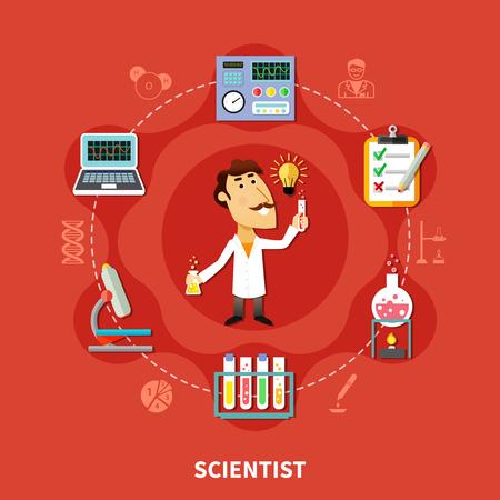 Wetenschapper uitvinder in onderzoekslaboratorium, man in de cirkel van chemische iconen, platte vectorillustratie