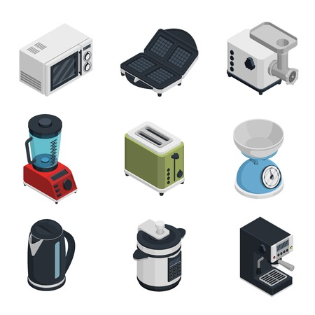 Kitchen appliances isometric icons set with toaster teapot and coffee machine isolated vector illustration