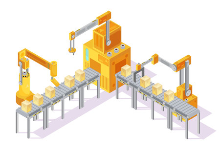 conveyor system: Yellow grey conveyor system with control panel, robotic hands and packaging on line isometric vector illustration