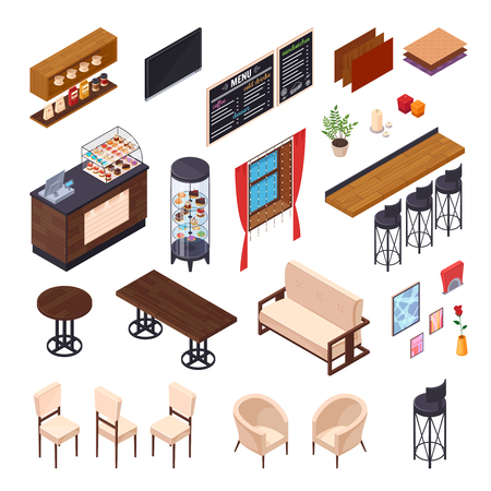 Cafe interior restaurant pizzeria bistro canteen isometric elements set of isolated furniture and shop display images vector illustration Stok Fotoğraf - 79168661