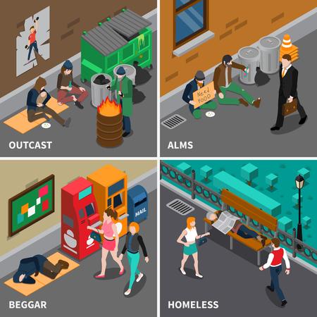 Dakloze mensen isometrisch ontwerp concept met inbegrip van bedelaars uitzetten personen met kind behoeftige in voedsel geïsoleerde vector illustratie