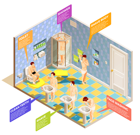 Hygiene isometric composition with bathing room interior and male characters washing face shaving and cleaning teeth vector illustration Ilustração