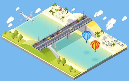 Bridge and beach resort isometric composition with plane and cars isometric vector illustration