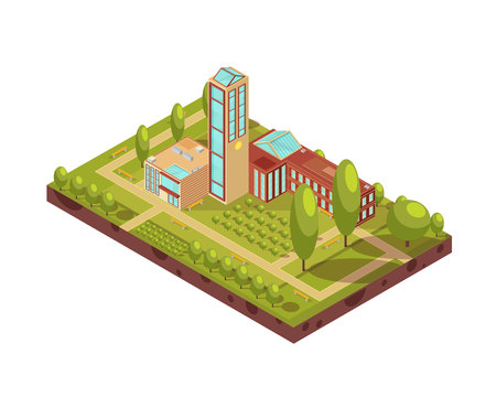 Isometric layout of modern university building with glass tower green trees walkways with benches 3d vector illustration Çizim