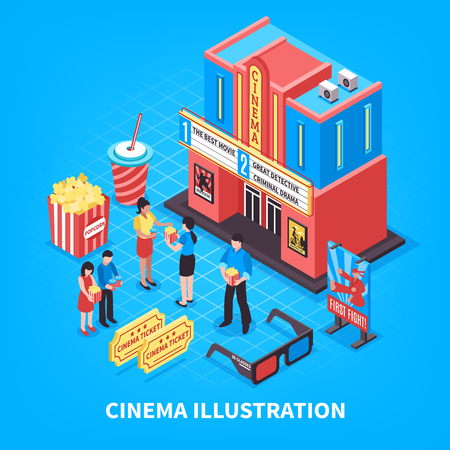 Cinematography isometric design concept with cinema building tickets 3d glasses and people near theatre vector illustration