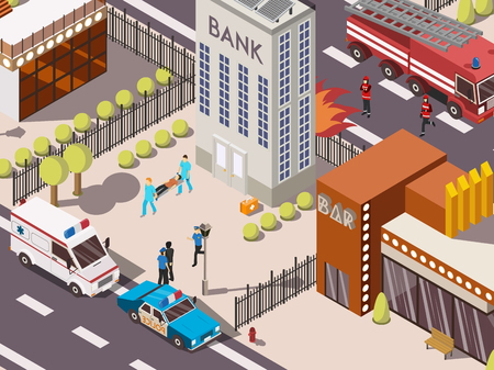 Isometric 3d rescue service composition with fire engine police and ambulance cars near bank building vector illustration