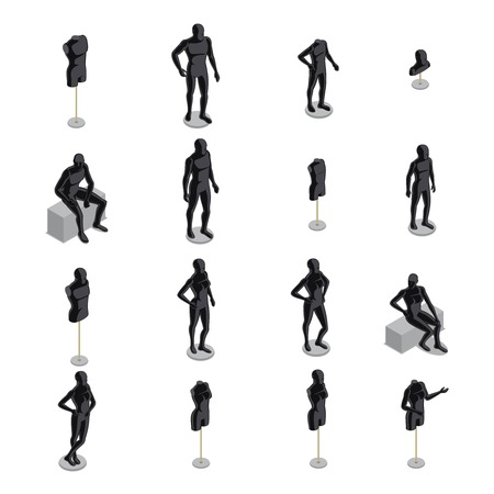 Isometric set of black male and female mannequins in various poses on white background isolated vector illustration