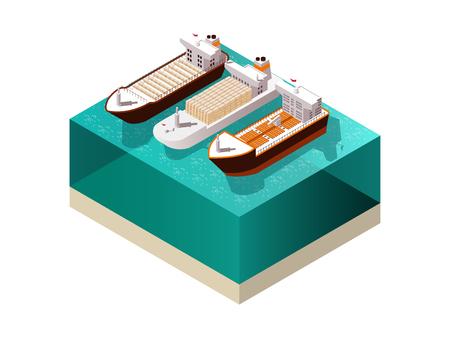 海水表面のベクトル図上影と 3 つの満載な貨物船船で船等尺性に設定します。