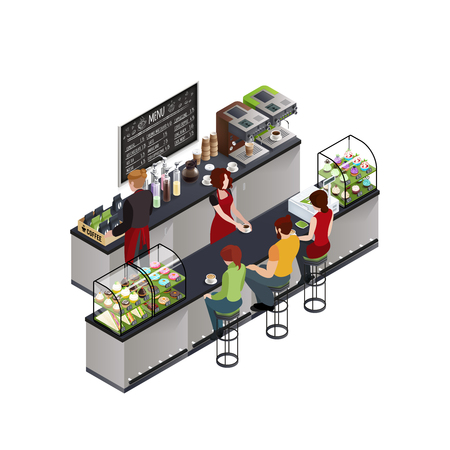 Hipsters at coffee shop bar counter isometric modern colorful cafe design poster with chalkboard menu vector illustration Illustration