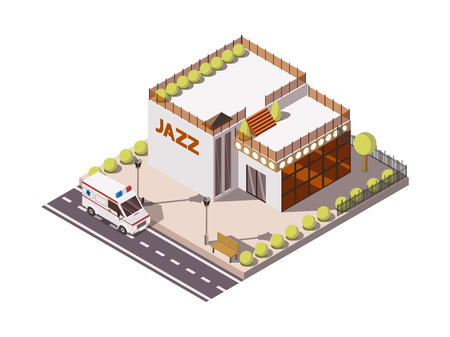 Isometric set of rescue service ambulance car near building with jazz sign 3d vector illustration Illustration