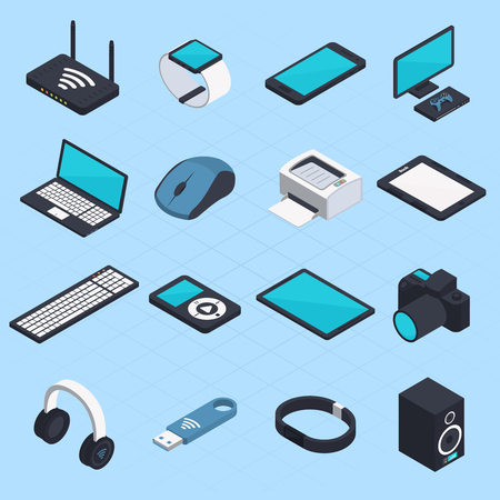 Isometric set of wireless mobile devices with smartphone notebook headphones usb tablet printer mouse modem icons isolated vector illustration Illustration