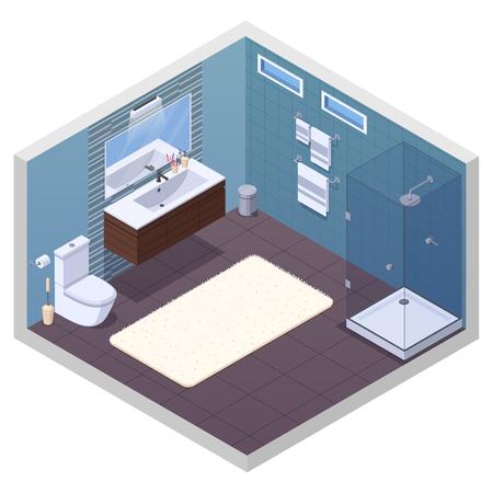 Bathroom isometric interior with glossy shower unit lavatory bowl vanity basin mirror and soft bath mat vector illustration Illustration