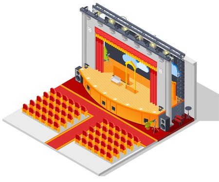Theatre interior isometric concept with seats stage and curtains vector illustration Illustration