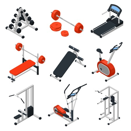 Gym equipment isometric set with training symbols isolated vector illustration