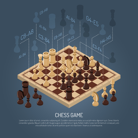 Colored board games composition with schemes planning in chess and headline at the bottom vector illustration Stok Fotoğraf - 79134675