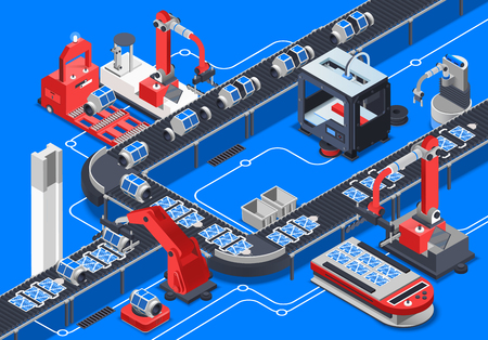 Astronautics research equipment conveyor on blue background isometric vector illustration