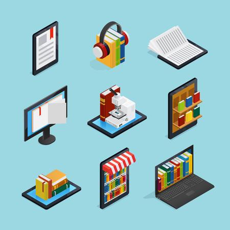Online boeken isometrische reeks met het luisteren lezing op de mobiele bibliotheek van apparaatinternet en opslag geïsoleerde vectorillustratie