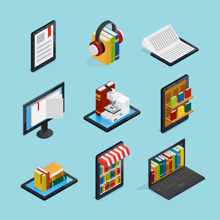Online books isometric set with listening reading on mobile device internet library and stores isolated vector illustration Illustration