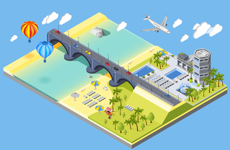 Bridge and beach isometric composition with hotel and palm trees isometric vector illustration