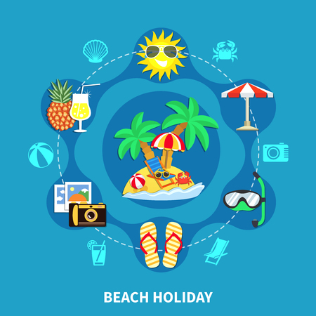 Vacation travel flat composition of beach holiday images with offshore leisure activity equipment symbols and silhouettes vector illustration Illustration