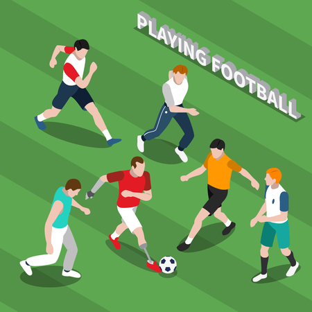 Disabled person with prosthetic limbs playing soccer with healthy people on green textured background isometric vector illustration