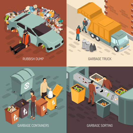 Four square isometric garbage recycling design icon set with truck garbage rubbish dump containers and sorting descriptions vector illustration Иллюстрация