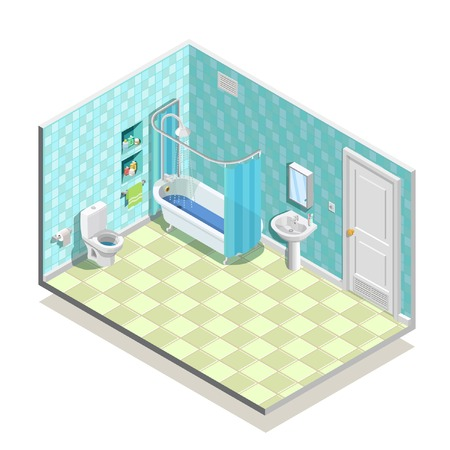 Hygiene icons isometric composition with lavatory interior sanitary fitments including tub basin washstand shelves and mirror vector illustration
