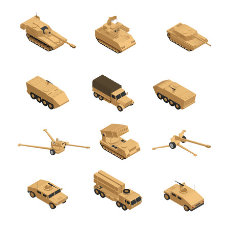 Military vehicles isometric icon set in beige tones for warfare and training in the army vector illustration