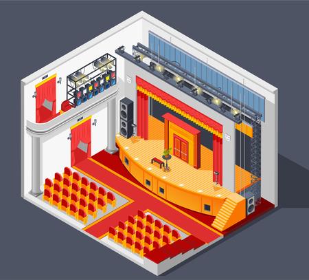 Kompozycja izometryczna wnętrza teatru z ilustracją wektorową sceny świetlnej i scenerii