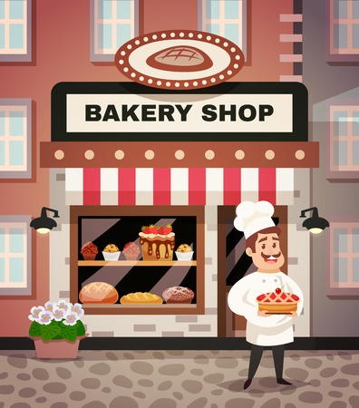 bakery price: Bakery shop design concept with chef in uniform standing in front of the shop window with cake in hands flat cartoon vector illustration