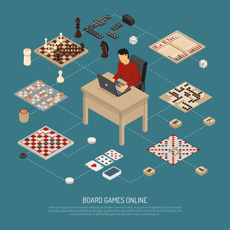 Colored board games online composition with guy who is sitting at the computer and playing vector illustration