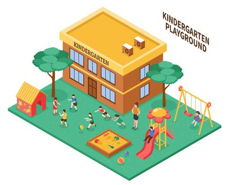 Kleuterschool openlucht isometrische samenstelling met de leraar van de speelplaatskindergarten en het spelen kinderen vectorillustratie