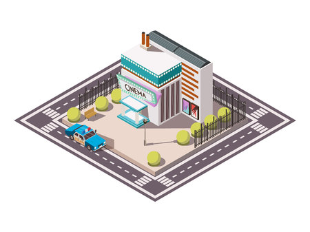 Rescue service isometric set with police car near cinema 3d vector illustration. Illustration