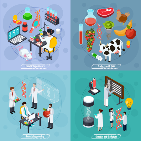Genetics 2x2 design concept with genetic experiments  genetic engineering products with gmo and science future compositions  flat vector illustration Illustration