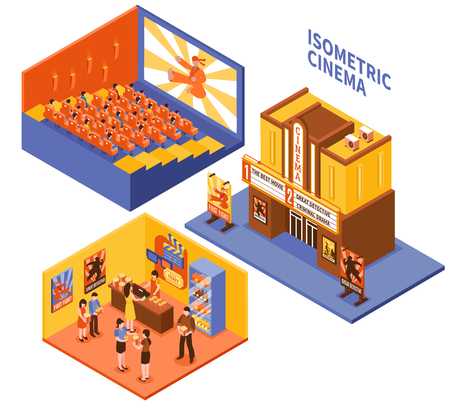 Collection of cinema isometric compositions with viewers in auditorium visitors in foyer and entrance in movie theatre vector illustration Illustration