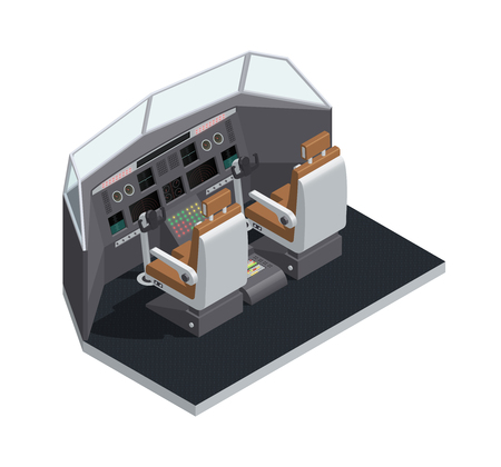 Colored airplane interior isometric 3d isolated composition with cockpit side view vector illustration