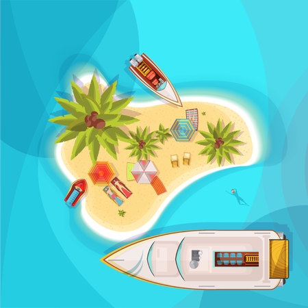 Island beach top view with blue sea, people on loungers under parasols, boats, palm trees vector illustration Çizim