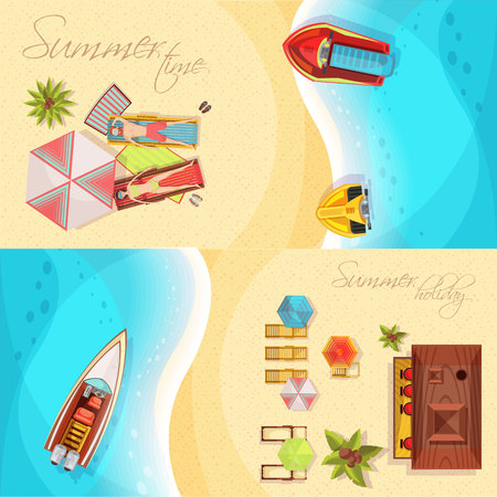 Beach holiday horizontal banners top view including coast, sea, boats, bar, sunbathers on loungers isolated vector illustration