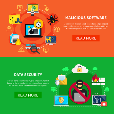 Hacking flat horizontal banners set with malicious software and data security decorative icons cartoon vector illustration