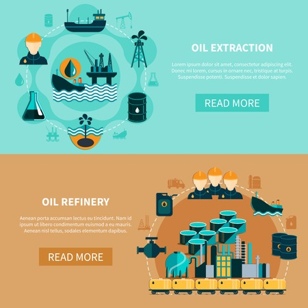 Oil industry banners with images of oil tank cars tankers petroleum refinery with read more button vector illustration
