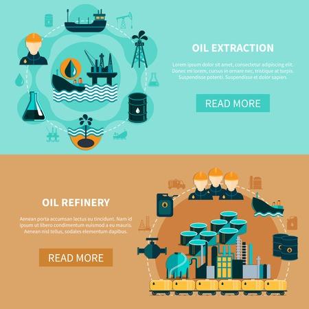 Olie-industrie banners met afbeeldingen van olietank auto's tankers petroleum raffinaderij met meer lezen knop vector illustratie