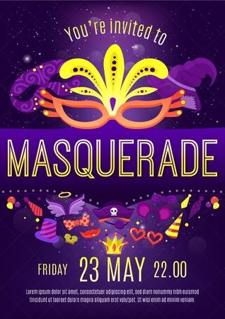 Mascarade night party invitation fond affiche affiche ronde violet avec des lettres et des masques de théâtre abstrait illustration vectorielle Banque d'images - 79220707