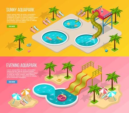 Twee horizontale en gekleurde isometrische banner van het aquapark die met zonnige en avond aquapark beschrijvingen vectorillustratie wordt geplaatst Stock Illustratie