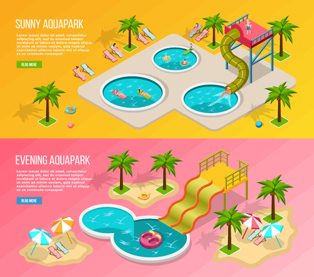 Two horizontal and colored isometric aqua park banner set with sunny and evening aquapark descriptions vector illustration